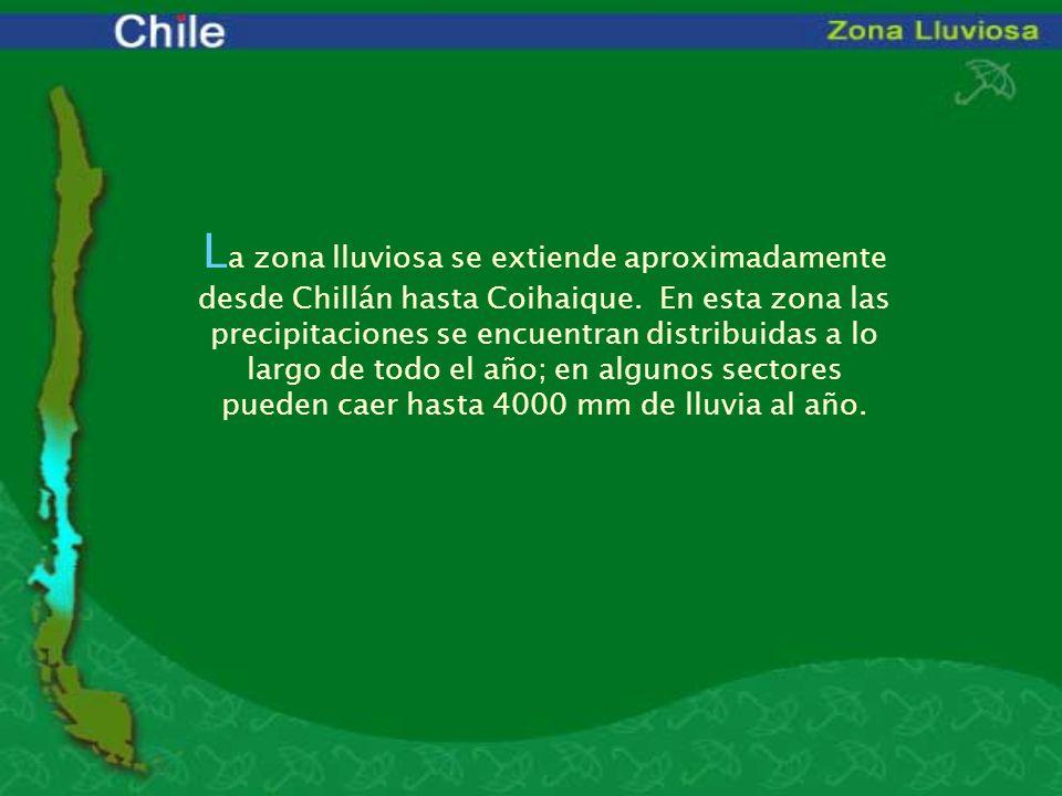 L a zona lluviosa se extiende aproximadamente desde Chillán hasta Coihaique. En esta zona las precipitaciones se encuentran distribuidas a lo largo de