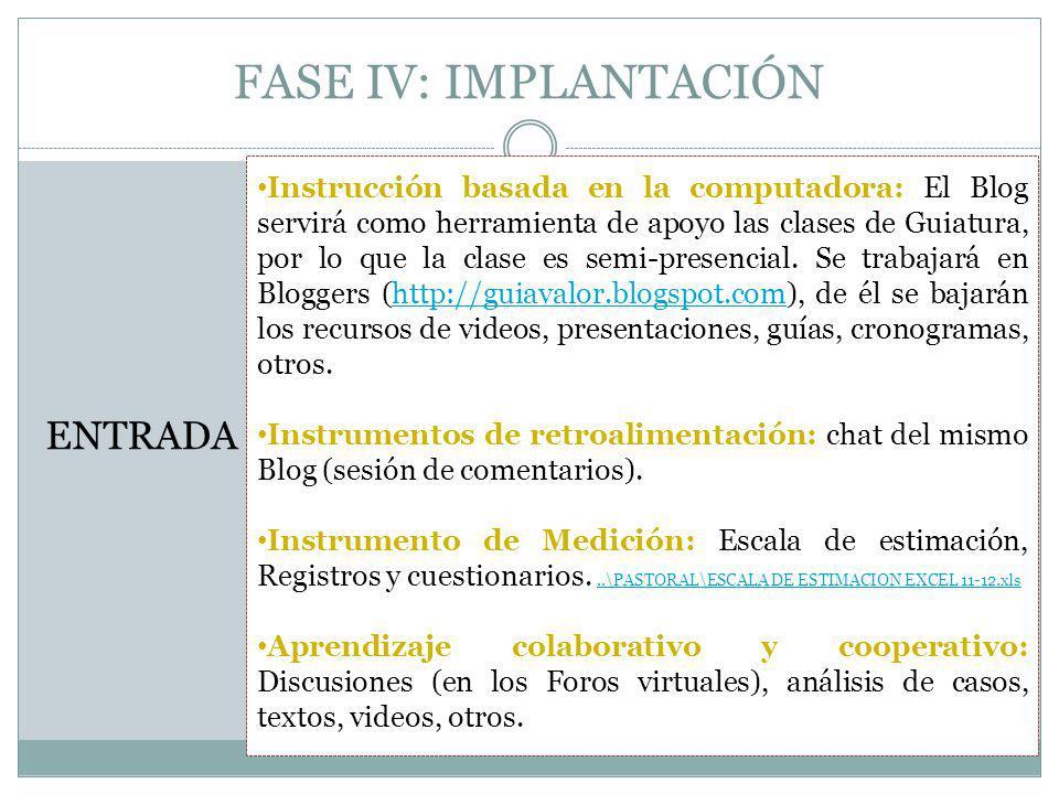 FASE IV: IMPLANTACIÓN ENTRADA Instrucción basada en la computadora: El Blog servirá como herramienta de apoyo las clases de Guiatura, por lo que la clase es semi-presencial.