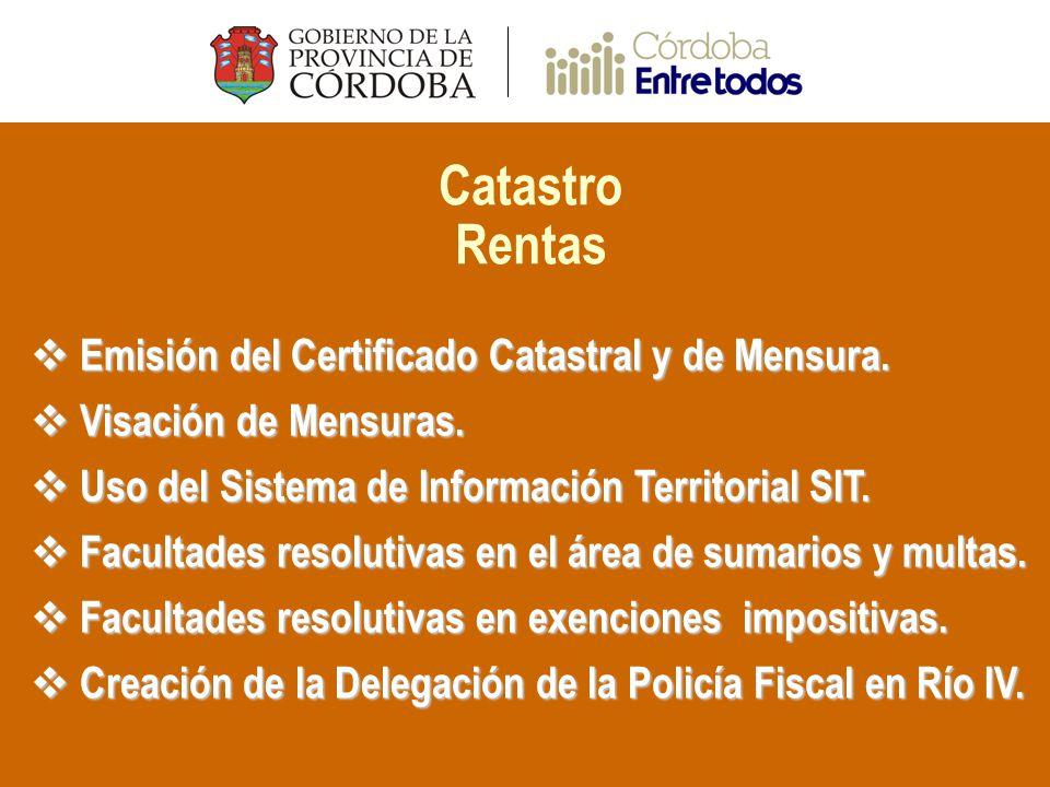 Catastro Rentas Emisión del Certificado Catastral y de Mensura.