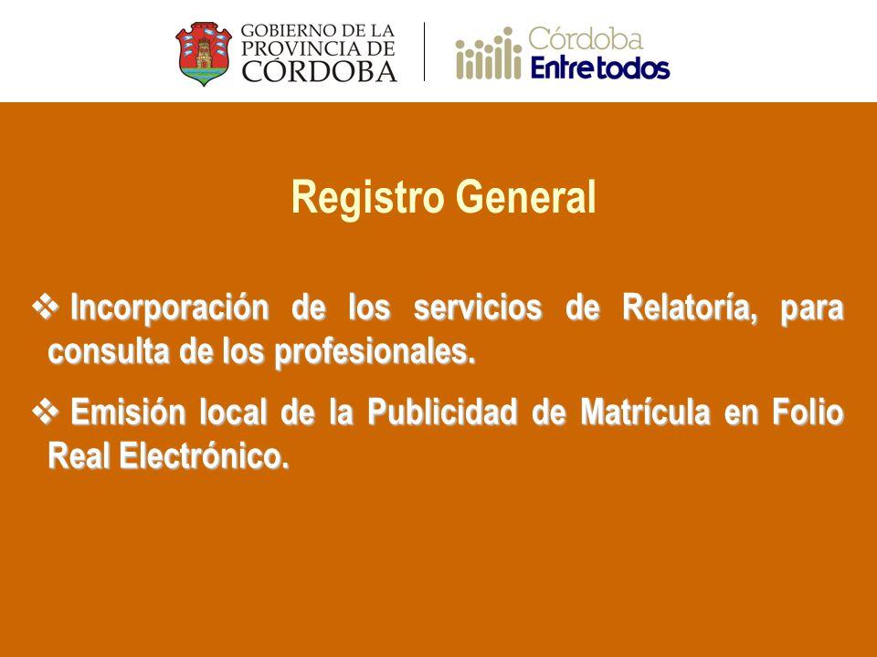 Registro General Incorporación de los servicios de Relatoría, para consulta de los profesionales.