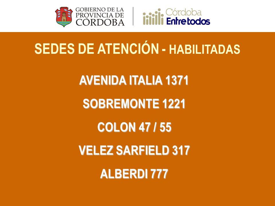 SEDES DE ATENCIÓN - HABILITADAS AVENIDA ITALIA 1371 SOBREMONTE 1221 COLON 47 / 55 VELEZ SARFIELD 317 ALBERDI 777