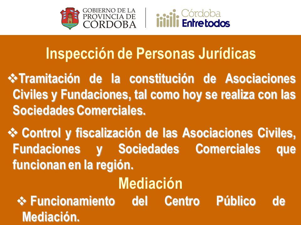 Inspección de Personas Jurídicas Tramitación de la constitución de Asociaciones Civiles y Fundaciones, tal como hoy se realiza con las Sociedades Comerciales.