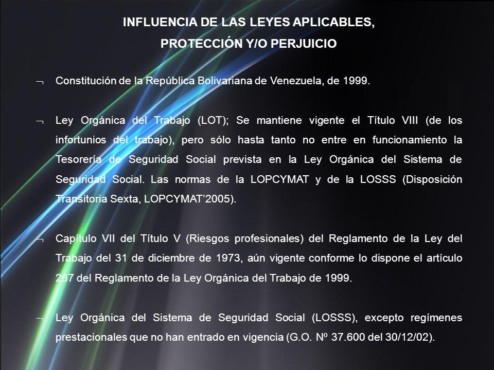 Constitución de la República Bolivariana de Venezuela, de 1999. Ley Orgánica del Trabajo (LOT); Se mantiene vigente el Título VIII (de los infortunios