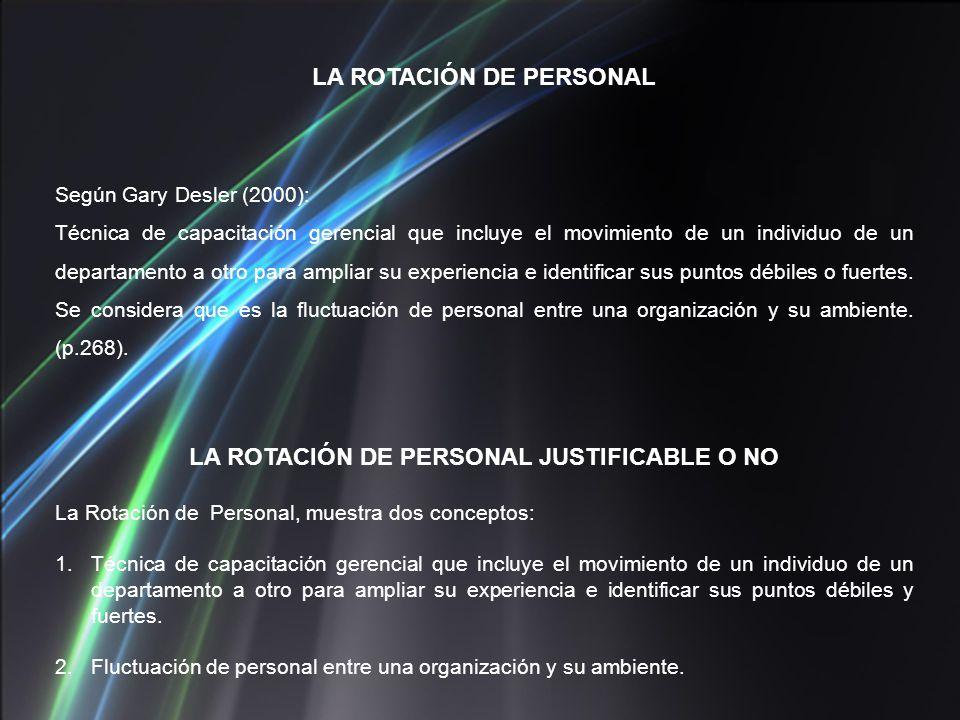 LA ROTACIÓN DE PERSONAL Según Gary Desler (2000): Técnica de capacitación gerencial que incluye el movimiento de un individuo de un departamento a otr