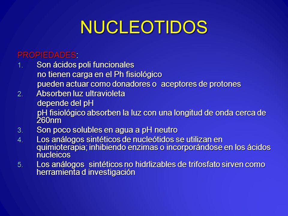 NUCLEOTIDOS PROPIEDADES: 1.