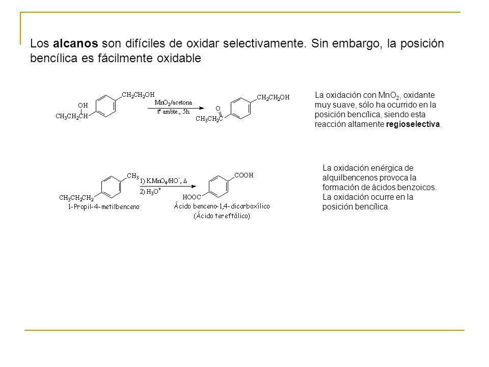 Los alcanos son difíciles de oxidar selectivamente. Sin embargo, la posición bencílica es fácilmente oxidable La oxidación con MnO 2, oxidante muy sua