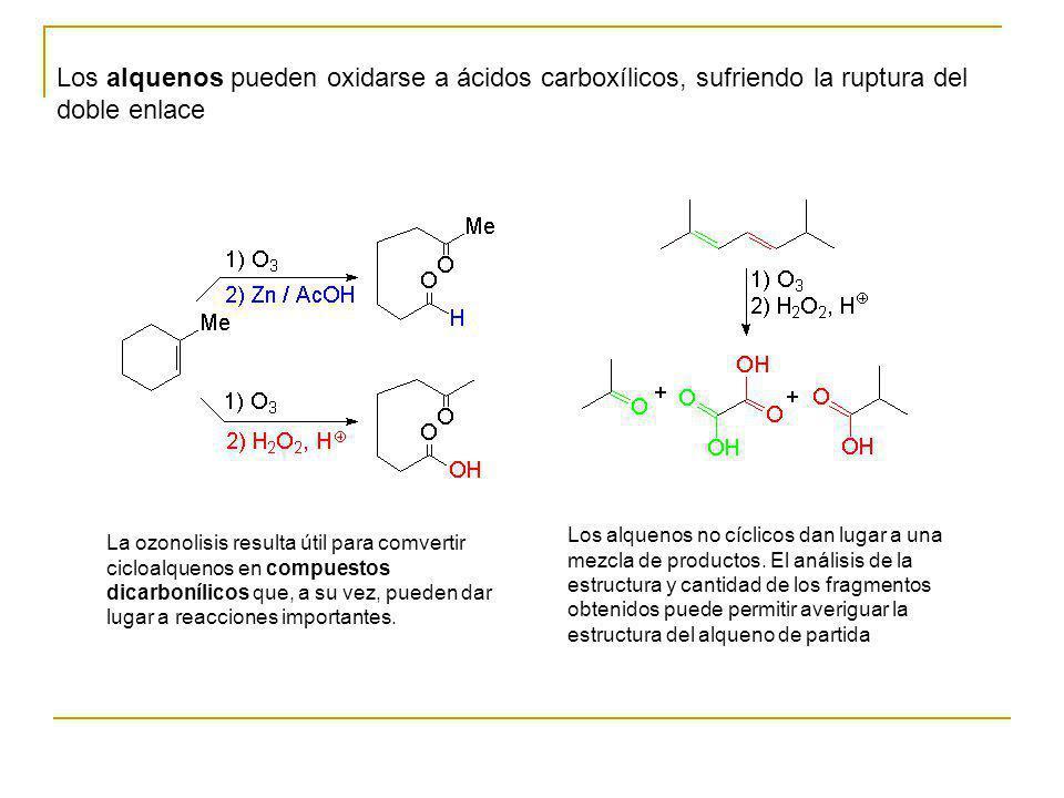 Los alquenos pueden oxidarse a ácidos carboxílicos, sufriendo la ruptura del doble enlace La ozonolisis resulta útil para comvertir cicloalquenos en c