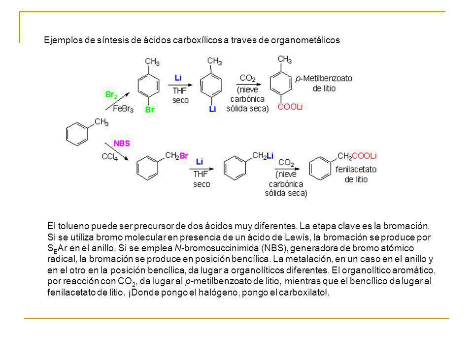 Ejemplos de síntesis de ácidos carboxílicos a traves de organometálicos El tolueno puede ser precursor de dos ácidos muy diferentes. La etapa clave es