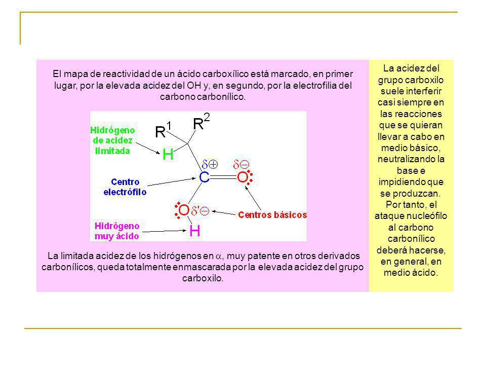 El mapa de reactividad de un ácido carboxílico está marcado, en primer lugar, por la elevada acidez del OH y, en segundo, por la electrofilia del carb