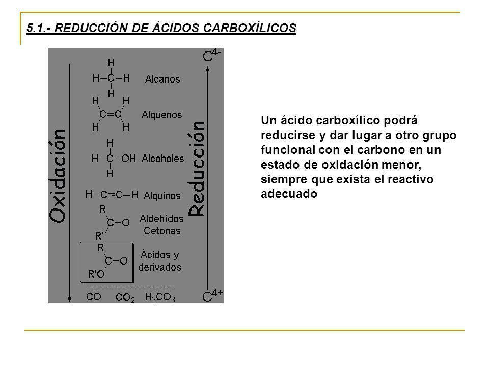 5.1.- REDUCCIÓN DE ÁCIDOS CARBOXÍLICOS Un ácido carboxílico podrá reducirse y dar lugar a otro grupo funcional con el carbono en un estado de oxidació