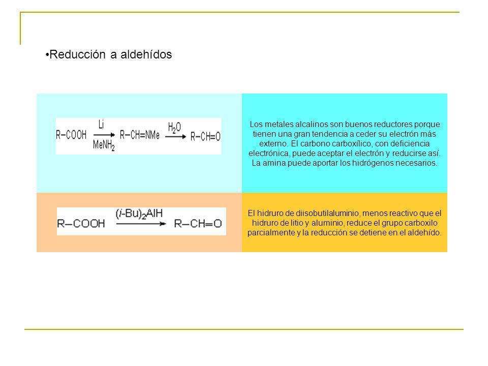Reducción a aldehídos Los metales alcalinos son buenos reductores porque tienen una gran tendencia a ceder su electrón más externo. El carbono carboxí