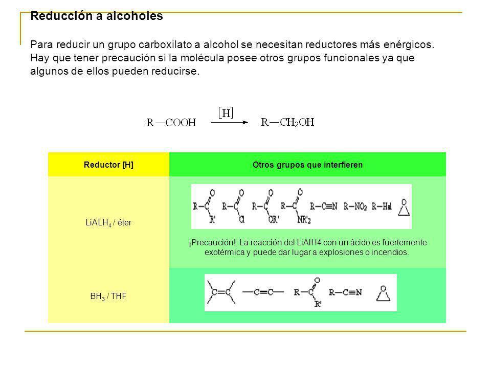 Reducción a alcoholes Para reducir un grupo carboxilato a alcohol se necesitan reductores más enérgicos. Hay que tener precaución si la molécula posee