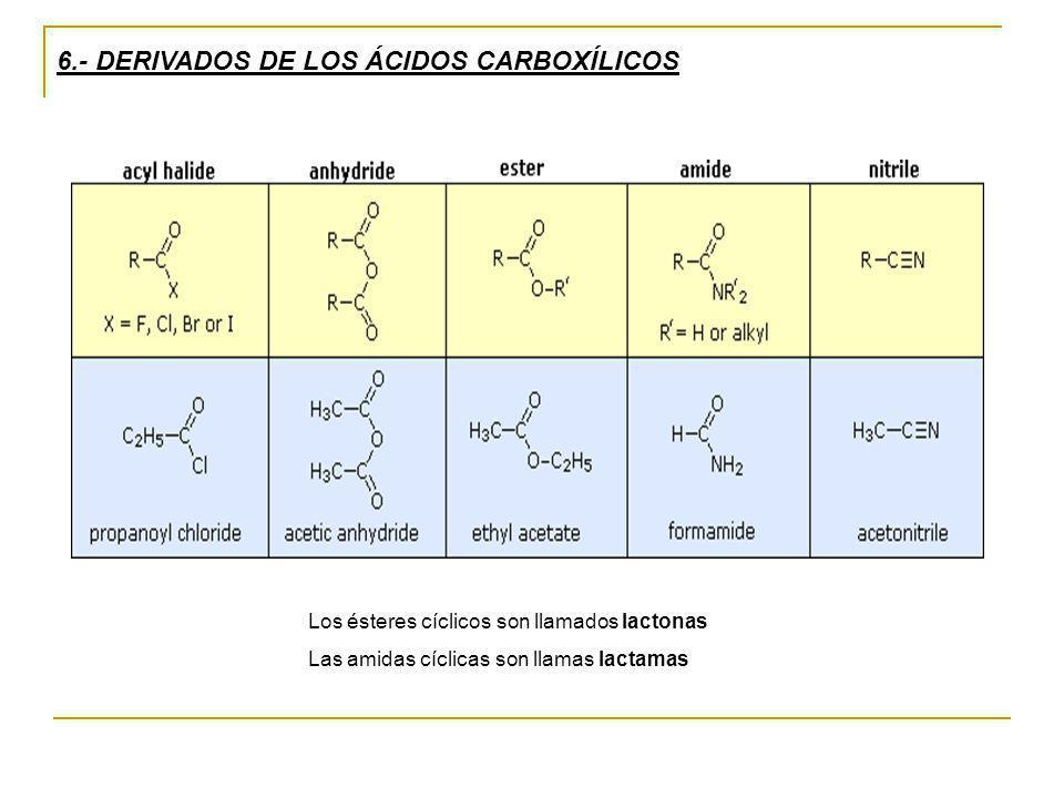 6.- DERIVADOS DE LOS ÁCIDOS CARBOXÍLICOS Los ésteres cíclicos son llamados lactonas Las amidas cíclicas son llamas lactamas