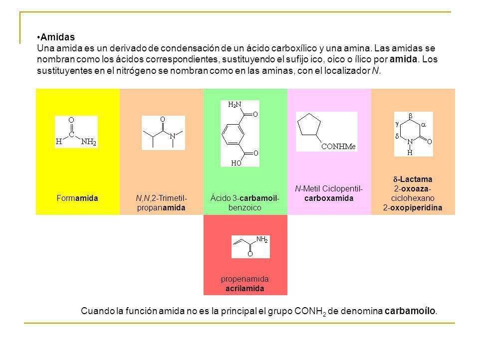 Amidas Una amida es un derivado de condensación de un ácido carboxílico y una amina. Las amidas se nombran como los ácidos correspondientes, sustituye