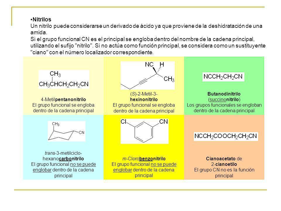 Nitrilos Un nitrilo puede considerarse un derivado de ácido ya que proviene de la deshidratación de una amida. Si el grupo funcional CN es el principa