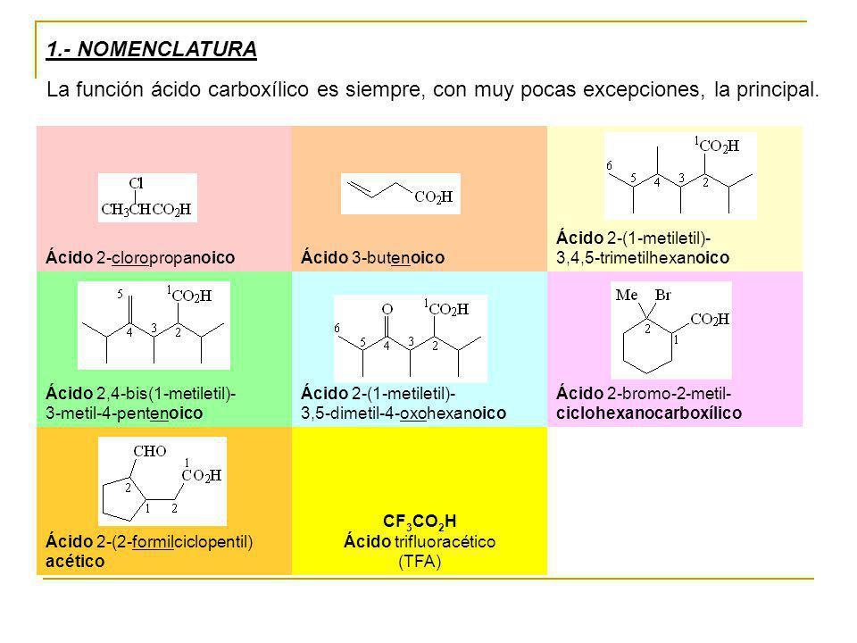 1.- NOMENCLATURA La función ácido carboxílico es siempre, con muy pocas excepciones, la principal. Ácido 2-cloropropanoico Ácido 3-butenoico Ácido 2-(