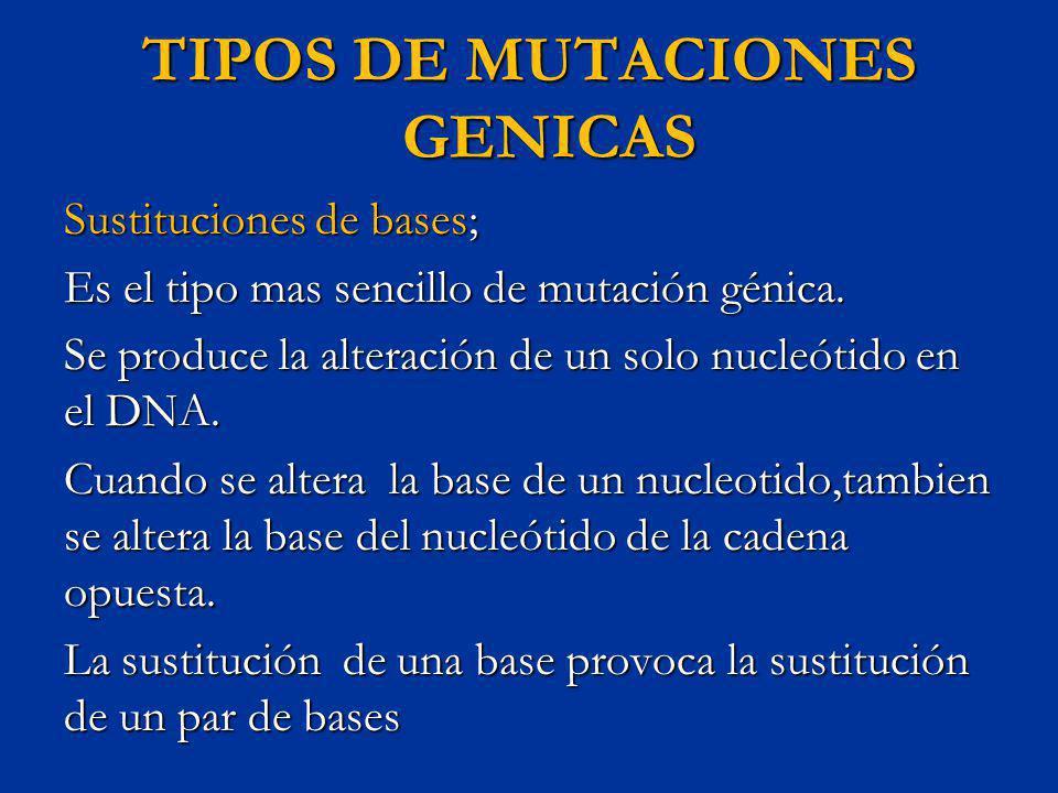 TIPOS DE MUTACIONES GENICAS Sustituciones de bases; Es el tipo mas sencillo de mutación génica. Se produce la alteración de un solo nucleótido en el D