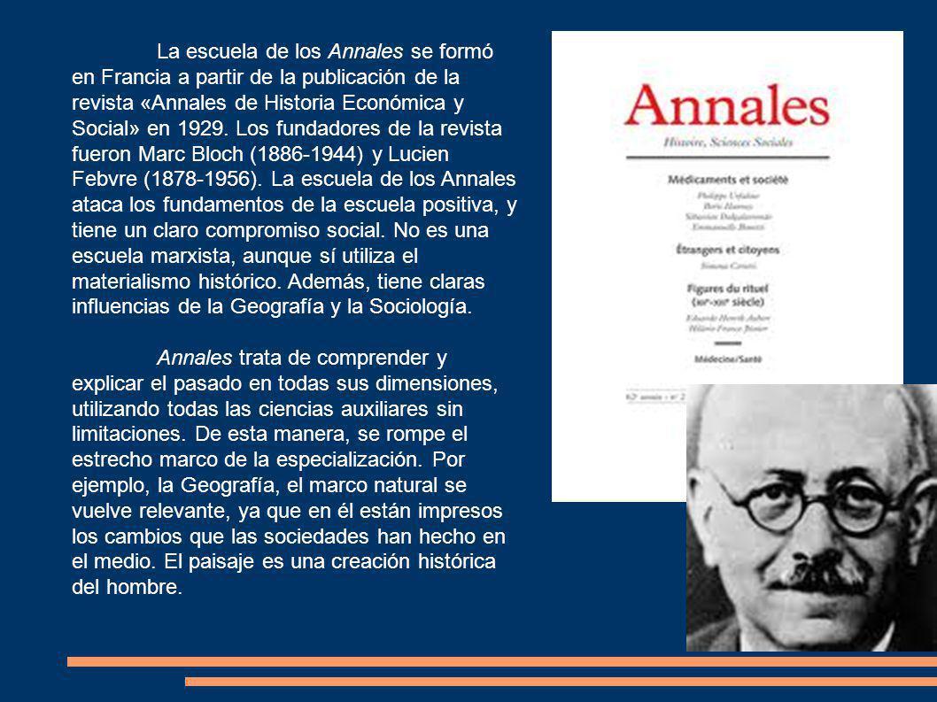 La escuela de los Annales se formó en Francia a partir de la publicación de la revista «Annales de Historia Económica y Social» en 1929.