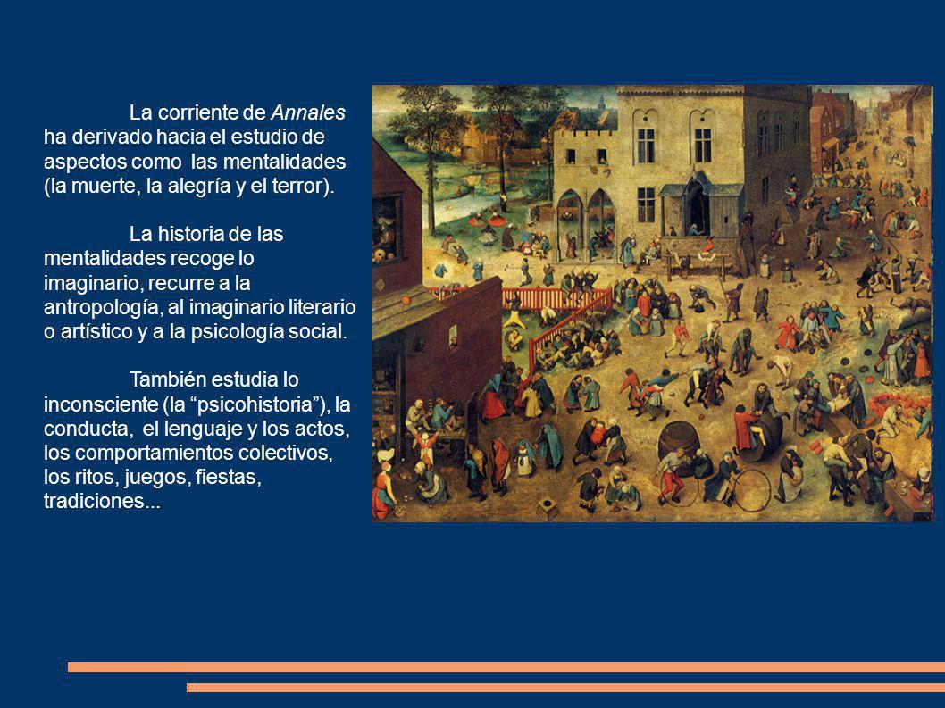 La corriente de Annales ha derivado hacia el estudio de aspectos como las mentalidades (la muerte, la alegría y el terror).