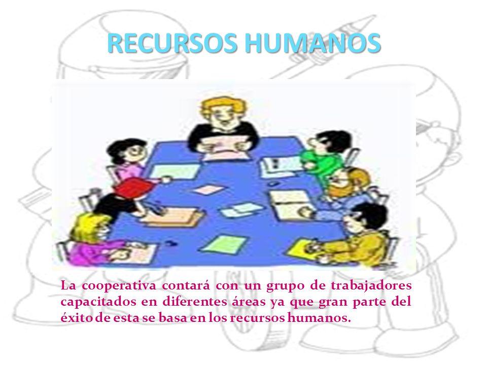 RECURSOS HUMANOS La cooperativa contará con un grupo de trabajadores capacitados en diferentes áreas ya que gran parte del éxito de esta se basa en lo