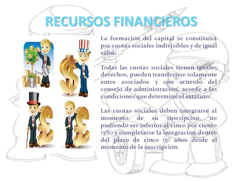 RECURSOS FINANCIEROS La formación del capital se constituirá por cuotas sociales indivisibles y de igual valor. Todas las cuotas sociales tienen igual