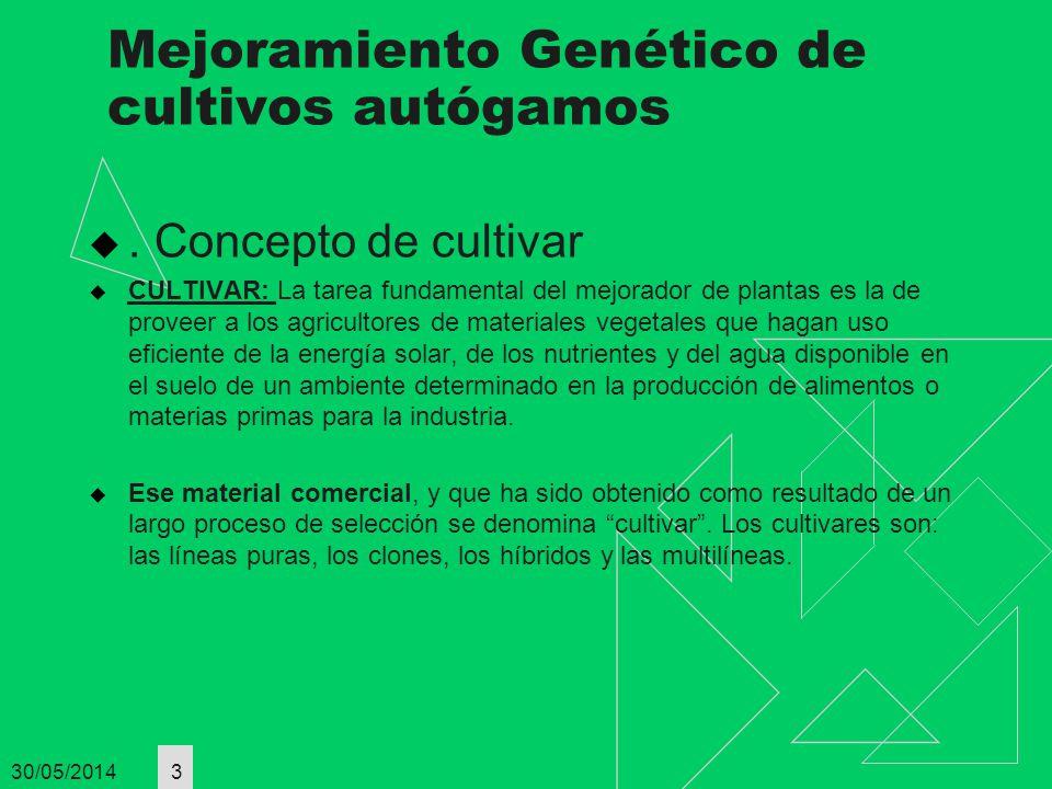 Mejoramiento Genético de cultivos autógamos. Concepto de cultivar CULTIVAR: La tarea fundamental del mejorador de plantas es la de proveer a los agric