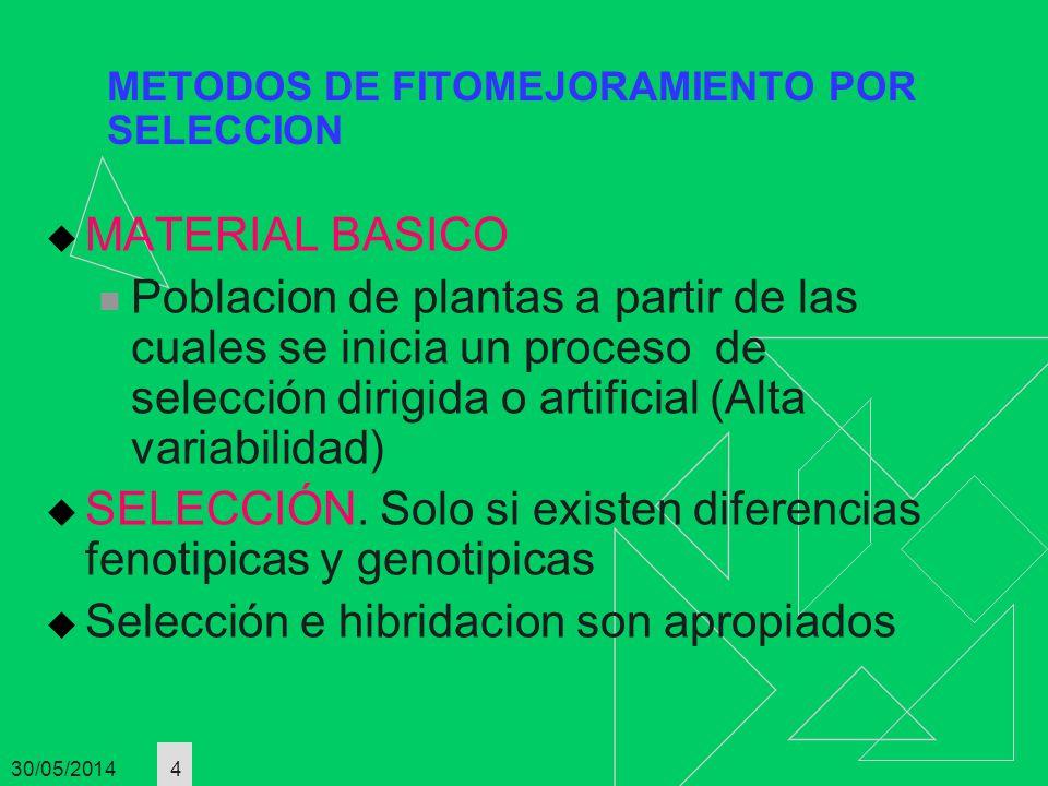 30/05/2014 5 METODOS DE FITOMEJORAMIENTO POR SELECCION TIPOS DE SELECCION MASAL SIMPLE: No hay control de la polinizacion PASOS SIEMBRA DE MATERIAL BASICO LOS SELECCIONADOS SON ELITES SE MESCLAN LAS SEMILLAS ELITES