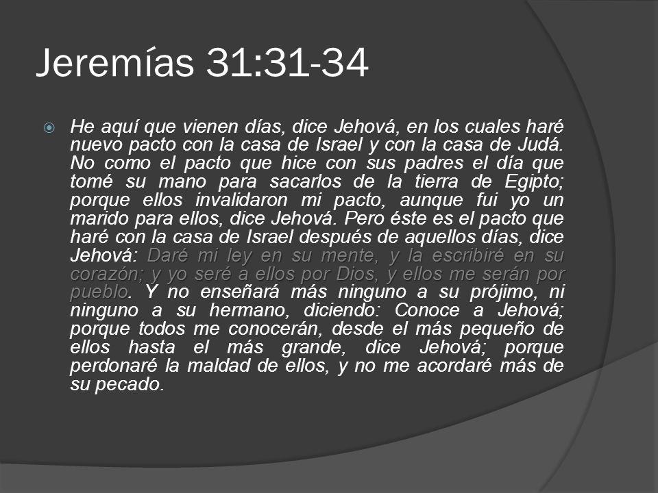 Jeremías 31:31-34 Daré mi ley en su mente, y la escribiré en su corazón; y yo seré a ellos por Dios, y ellos me serán por pueblo He aquí que vienen días, dice Jehová, en los cuales haré nuevo pacto con la casa de Israel y con la casa de Judá.