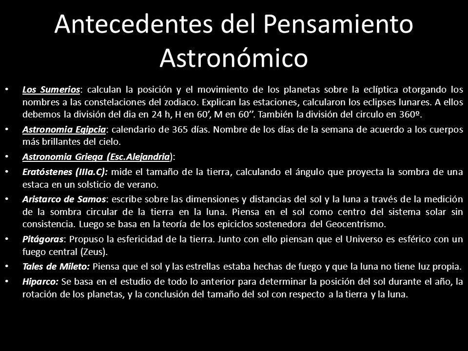 Antecedentes del Pensamiento Astronómico Los Sumerios: calculan la posición y el movimiento de los planetas sobre la eclíptica otorgando los nombres a