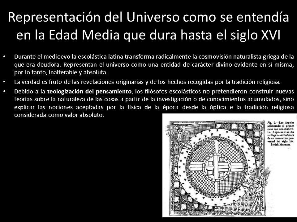 Representación del Universo como se entendía en la Edad Media que dura hasta el siglo XVI Durante el medioevo la escolástica latina transforma radical