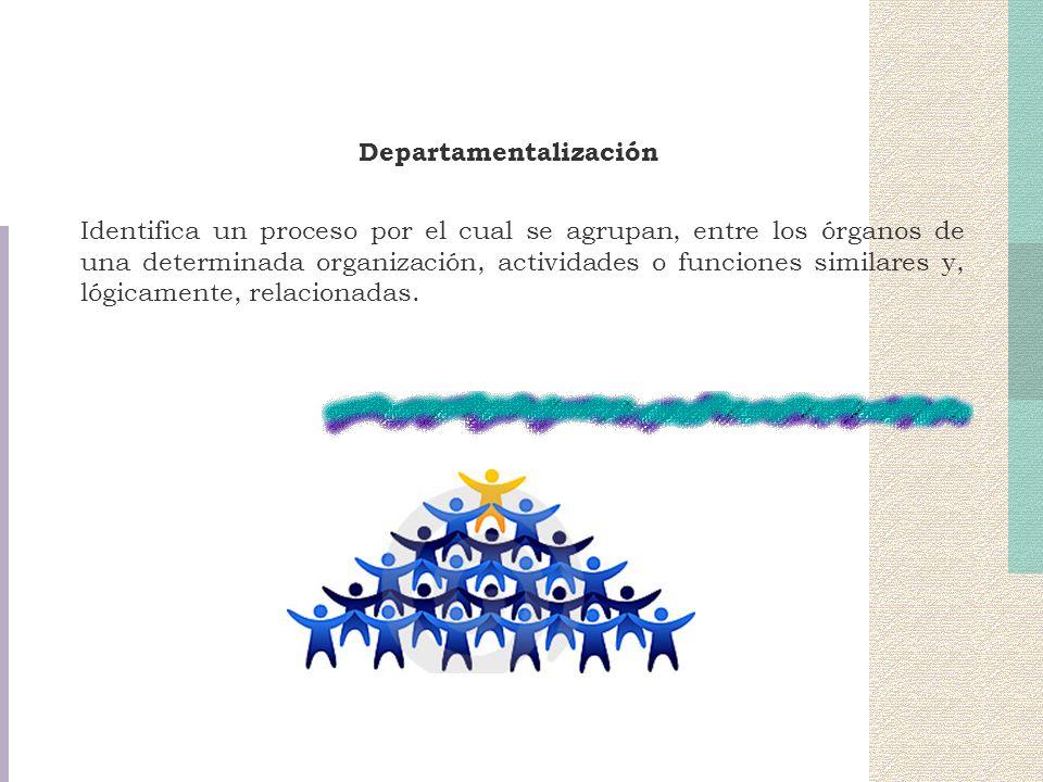 Departamentalización Identifica un proceso por el cual se agrupan, entre los órganos de una determinada organización, actividades o funciones similare