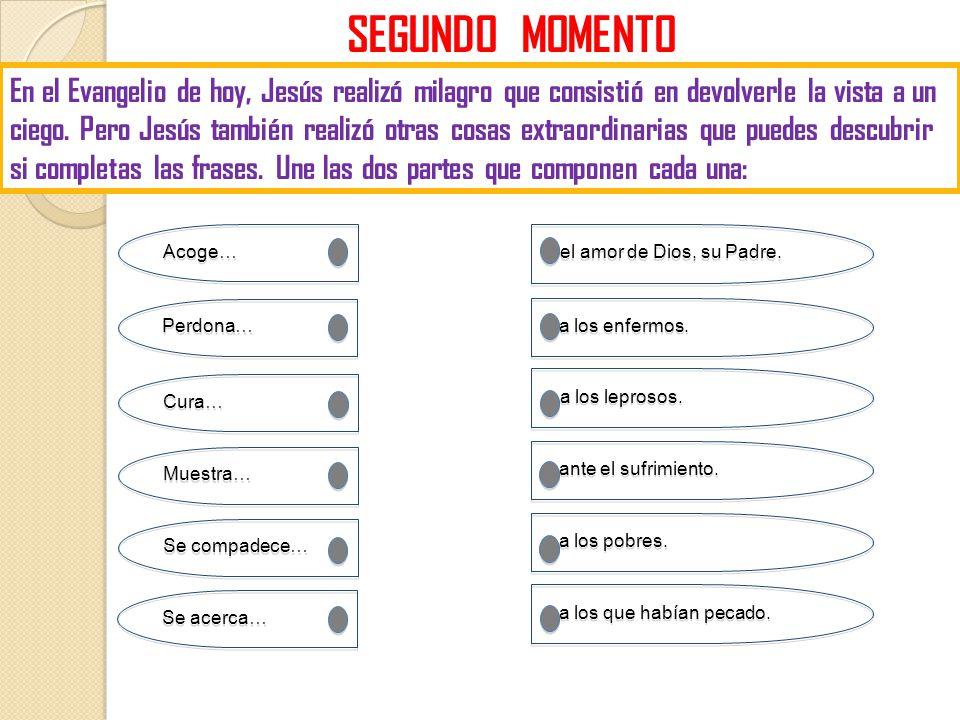 SEGUNDO MOMENTO En el Evangelio de hoy, Jesús realizó milagro que consistió en devolverle la vista a un ciego. Pero Jesús también realizó otras cosas
