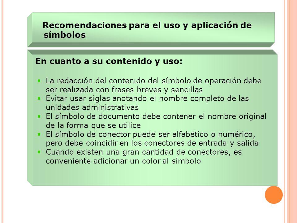 En cuanto a su contenido y uso: La redacción del contenido del símbolo de operación debe ser realizada con frases breves y sencillas Evitar usar sigla