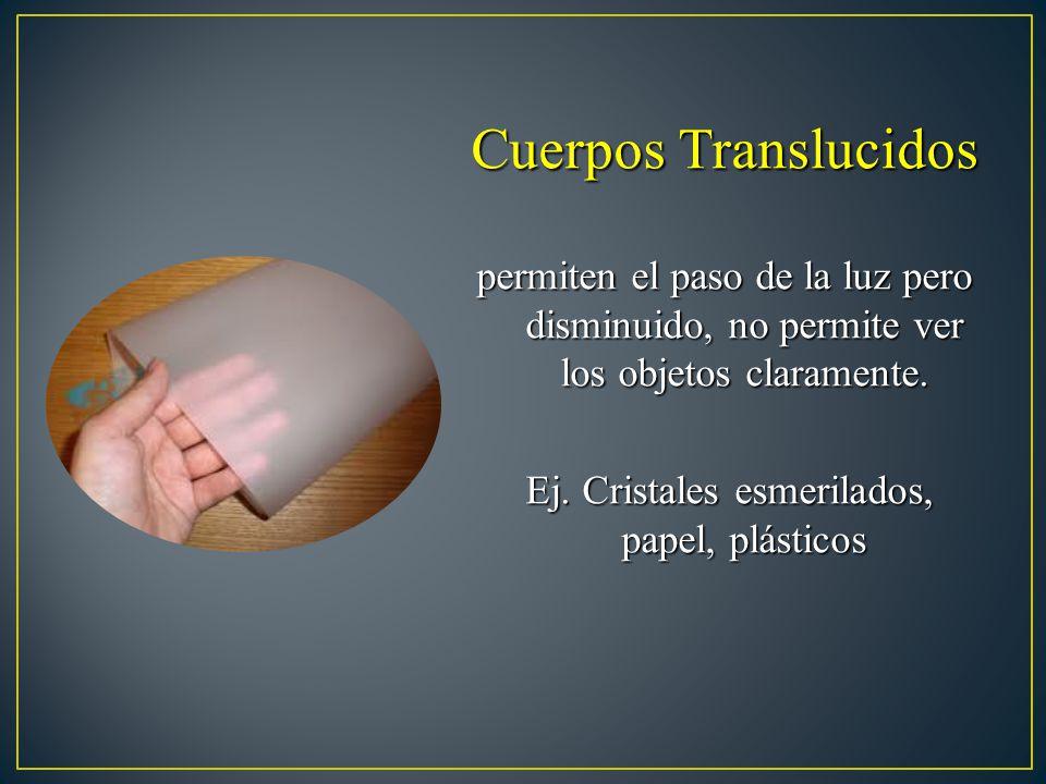 Cuerpos Translucidos permiten el paso de la luz pero disminuido, no permite ver los objetos claramente. Ej. Cristales esmerilados, papel, plásticos Ej