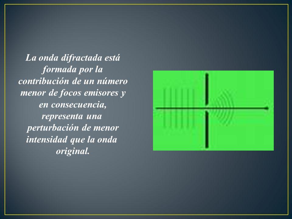 La onda difractada está formada por la contribución de un número menor de focos emisores y en consecuencia, representa una perturbación de menor inten