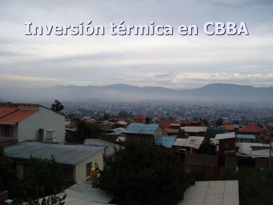 JH PT 6 sitios con tubos pasivos (O 3 y NO 2 ) 3 sitios con monitores automáticos (O 3, NO 2, CO, SO 2 ) 2 sitios para monitoreo de PM 10 Estación meteorológica N SE SAR UC VI DC PK Estaciones de muestreo en Cochabamba