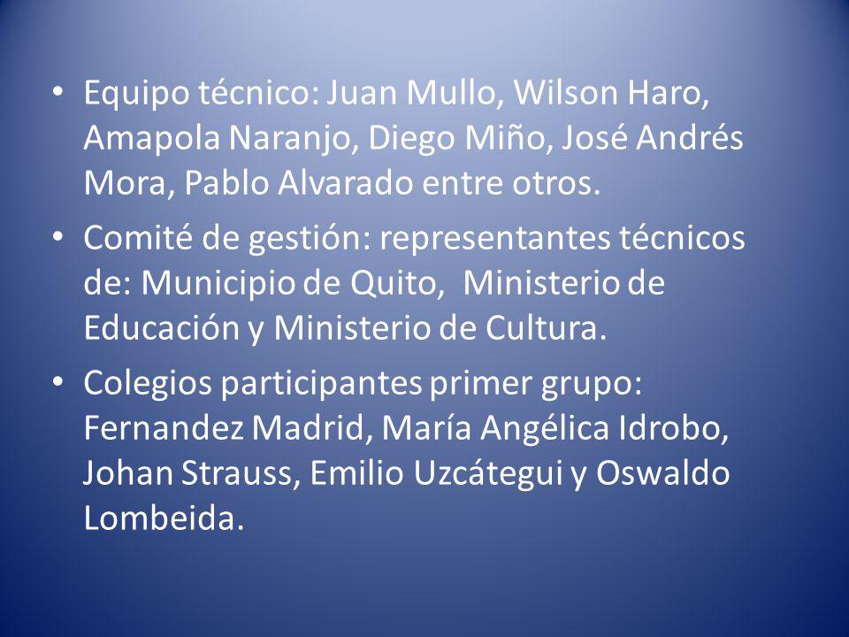 Equipo técnico: Juan Mullo, Wilson Haro, Amapola Naranjo, Diego Miño, José Andrés Mora, Pablo Alvarado entre otros.