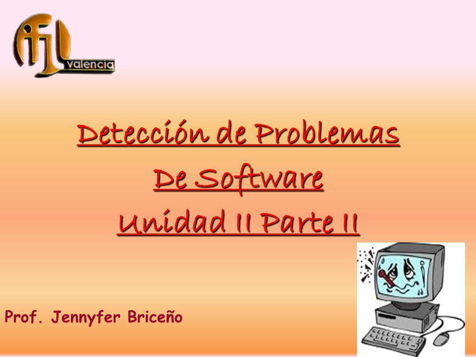 Detección de Problemas De Software Unidad II Parte II Prof. Jennyfer Briceño