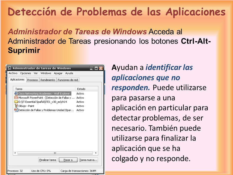 Ayudan a identificar las aplicaciones que no responden. Puede utilizarse para pasarse a una aplicación en particular para detectar problemas, de ser n