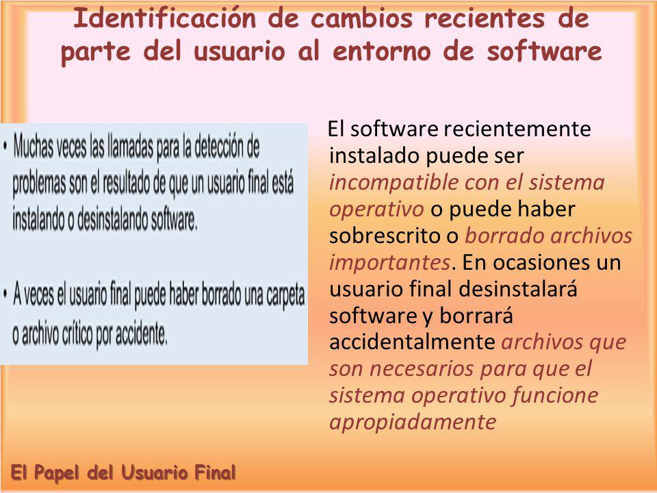 El software recientemente instalado puede ser incompatible con el sistema operativo o puede haber sobrescrito o borrado archivos importantes. En ocasi