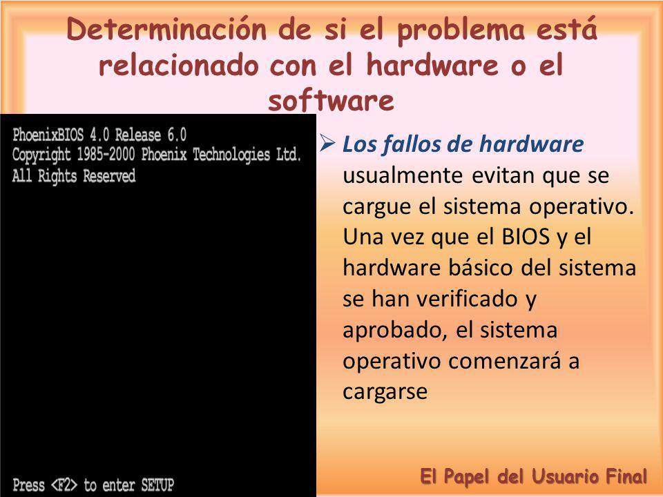 Determinación de si el problema está relacionado con el hardware o el software Los fallos de hardware usualmente evitan que se cargue el sistema opera