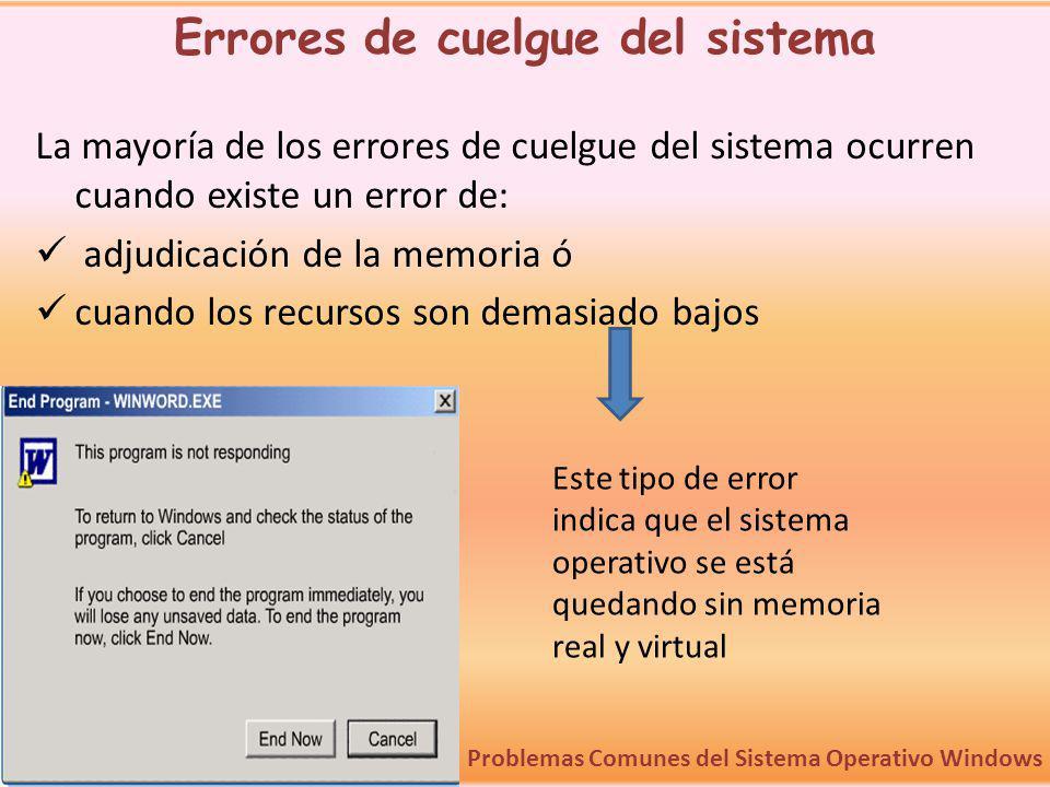 La mayoría de los errores de cuelgue del sistema ocurren cuando existe un error de: adjudicación de la memoria ó cuando los recursos son demasiado baj
