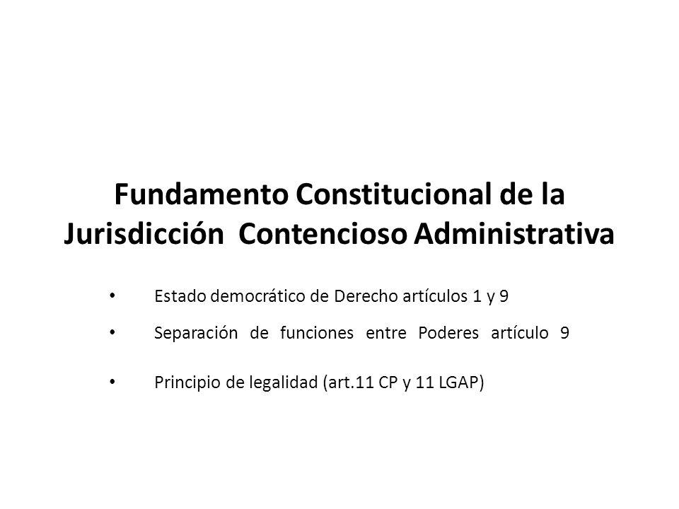 Estado democrático de Derecho artículos 1 y 9 Separación de funciones entre Poderes artículo 9 Principio de legalidad (art.11 CP y 11 LGAP) Fundamento