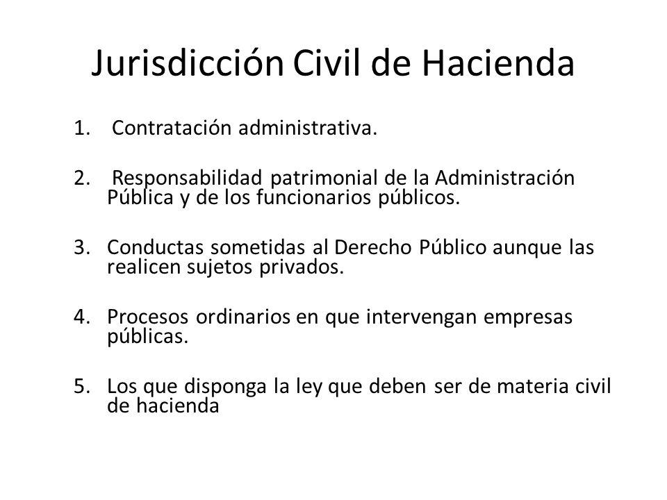 Jurisdicción Civil de Hacienda 1. Contratación administrativa. 2. Responsabilidad patrimonial de la Administración Pública y de los funcionarios públi