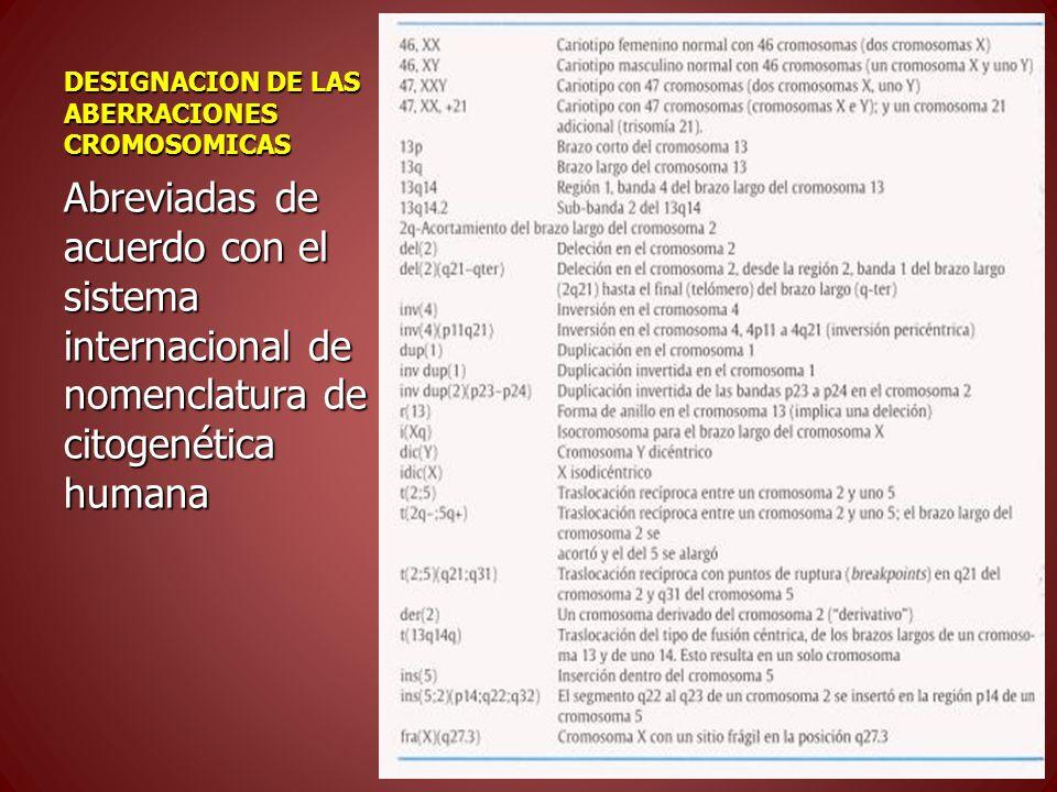 DESIGNACION DE LAS ABERRACIONES CROMOSOMICAS Abreviadas de acuerdo con el sistema internacional de nomenclatura de citogenética humana