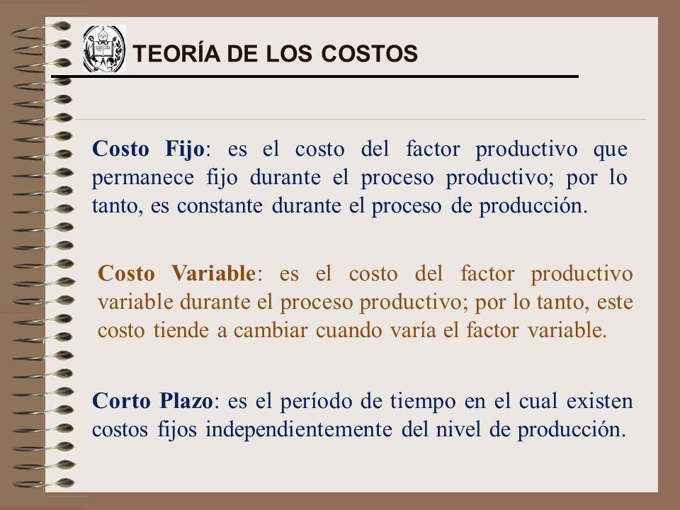 Costo Fijo: es el costo del factor productivo que permanece fijo durante el proceso productivo; por lo tanto, es constante durante el proceso de producción.
