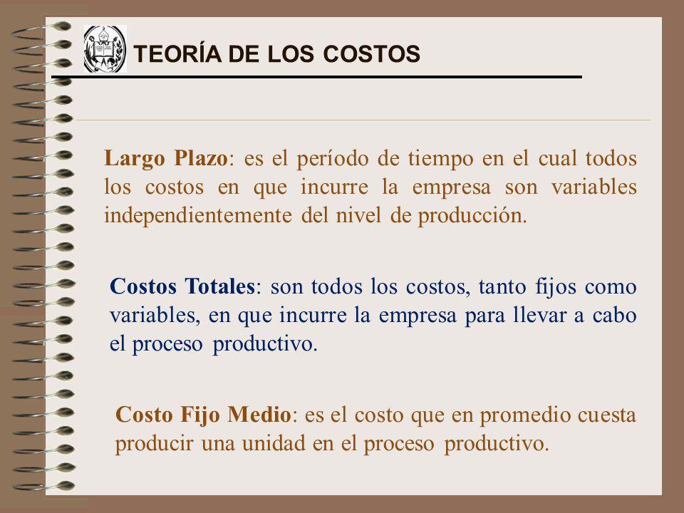 Largo Plazo: es el período de tiempo en el cual todos los costos en que incurre la empresa son variables independientemente del nivel de producción. C