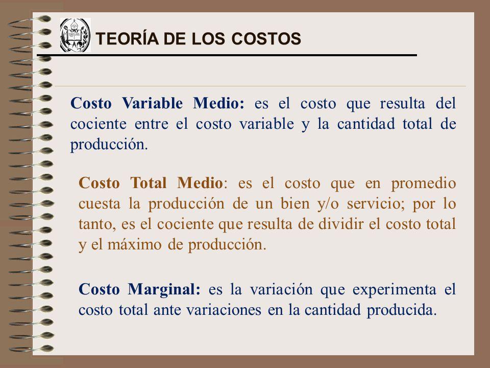 Costo Variable Medio: es el costo que resulta del cociente entre el costo variable y la cantidad total de producción. Costo Total Medio: es el costo q