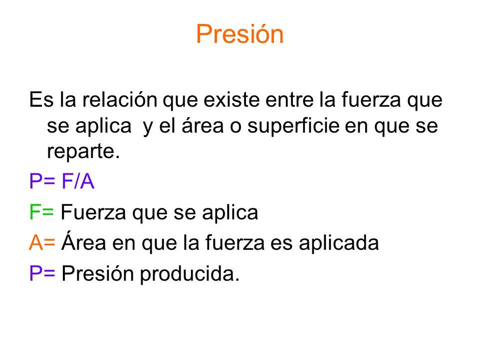 Presión Es la relación que existe entre la fuerza que se aplica y el área o superficie en que se reparte. P= F/A F= Fuerza que se aplica A= Área en qu