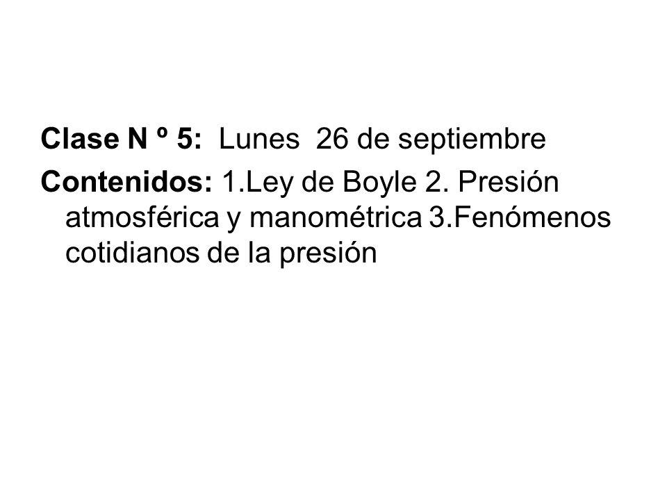 Clase N º 5: Lunes 26 de septiembre Contenidos: 1.Ley de Boyle 2. Presión atmosférica y manométrica 3.Fenómenos cotidianos de la presión